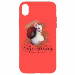 Чехол для iPhone XR Merry Christmas and white mouse