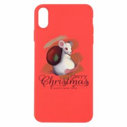 Чехол для iPhone Xs Max Merry Christmas and white mouse