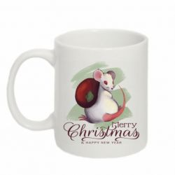 Кружка 320ml Merry Christmas and white mouse