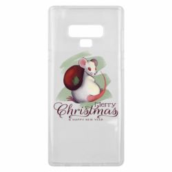 Чехол для Samsung Note 9 Merry Christmas and white mouse