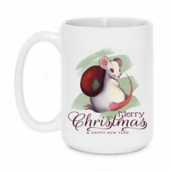 Кружка 420ml Merry Christmas and white mouse