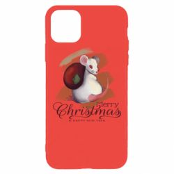 Чехол для iPhone 11 Pro Max Merry Christmas and white mouse