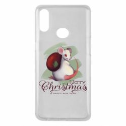 Чехол для Samsung A10s Merry Christmas and white mouse