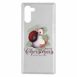 Чехол для Samsung Note 10 Merry Christmas and white mouse