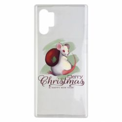Чехол для Samsung Note 10 Plus Merry Christmas and white mouse
