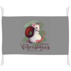 Флаг Merry Christmas and white mouse