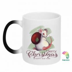Кружка-хамелеон Merry Christmas and white mouse