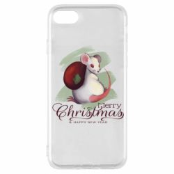 Чехол для iPhone 7 Merry Christmas and white mouse