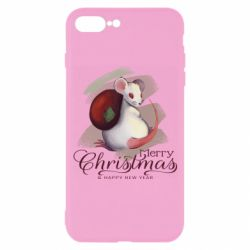 Чехол для iPhone 7 Plus Merry Christmas and white mouse
