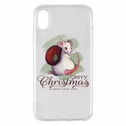Чехол для iPhone X/Xs Merry Christmas and white mouse