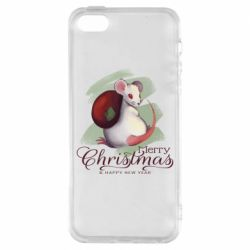 Чехол для iPhone5/5S/SE Merry Christmas and white mouse