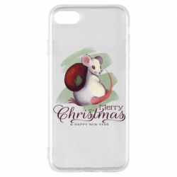 Чехол для iPhone 8 Merry Christmas and white mouse