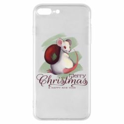 Чехол для iPhone 8 Plus Merry Christmas and white mouse