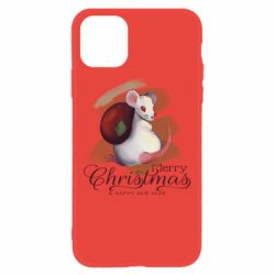Чехол для iPhone 11 Merry Christmas and white mouse
