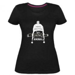 Жіноча стрейчева футболка Merry christmas filthy ya animal