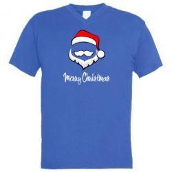 Мужская футболка  с V-образным вырезом Merry Christmas - FatLine