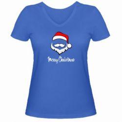 Женская футболка с V-образным вырезом Merry Christmas - FatLine