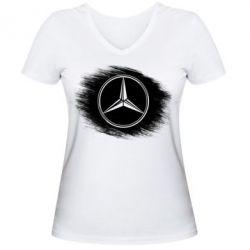 Женская футболка с V-образным вырезом Мерседес арт, Mercedes art