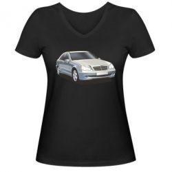 Женская футболка с V-образным вырезом Мерседес - FatLine