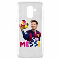 Купить Чехол для Samsung A6+ 2018 Месси с мячом, полигональный портрет, FatLine