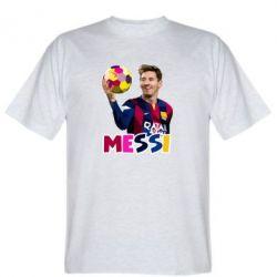Футболка Месси с мячом, полигональный портрет