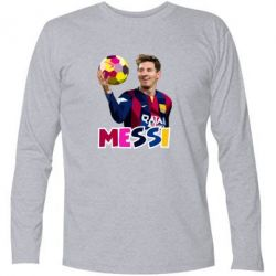 Футболка с длинным рукавом Месси с мячом, полигональный портрет