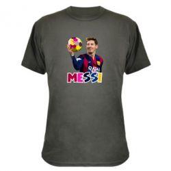 Камуфляжная футболка Месси с мячом, полигональный портрет