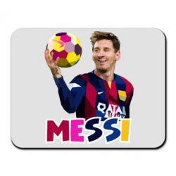 Коврик для мыши Месси с мячом, полигональный портрет