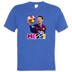 Мужская футболка  с V-образным вырезом Месси с мячом, полигональный портрет