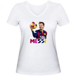 Женская футболка с V-образным вырезом Месси с мячом, полигональный портрет