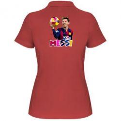 Женская футболка поло Месси с мячом, полигональный портрет