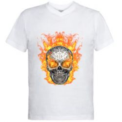 Мужская футболка  с V-образным вырезом Metal skull in flame of fire