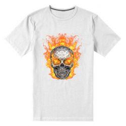 Мужская стрейчевая футболка Metal skull in flame of fire