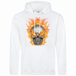 Мужская толстовка Metal skull in flame of fire
