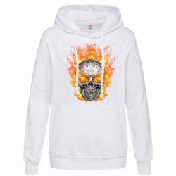 Женская толстовка Metal skull in flame of fire