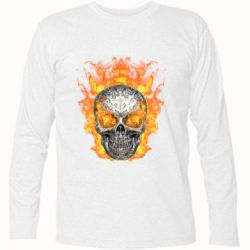 Футболка с длинным рукавом Metal skull in flame of fire
