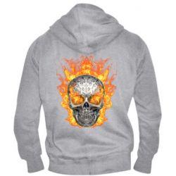 Мужская толстовка на молнии Metal skull in flame of fire