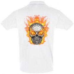 Мужская футболка поло Metal skull in flame of fire