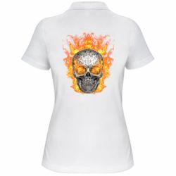 Женская футболка поло Metal skull in flame of fire