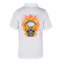 Детская футболка поло Metal skull in flame of fire