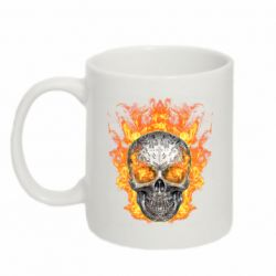 Кружка 320ml Metal skull in flame of fire