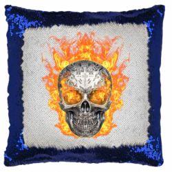 Подушка-хамелеон Metal skull in flame of fire