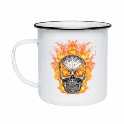 Кружка эмалированная Metal skull in flame of fire