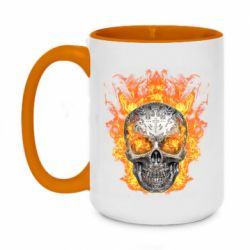 Кружка двухцветная 420ml Metal skull in flame of fire