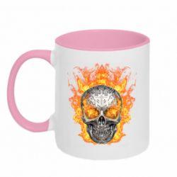 Кружка двухцветная 320ml Metal skull in flame of fire