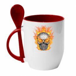 Кружка с керамической ложкой Metal skull in flame of fire