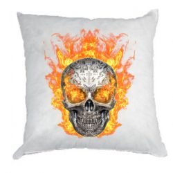 Подушка Metal skull in flame of fire