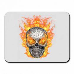 Коврик для мыши Metal skull in flame of fire