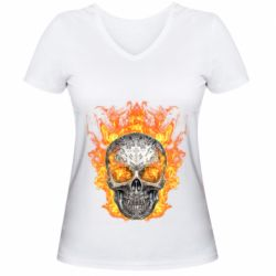 Женская футболка с V-образным вырезом Metal skull in flame of fire