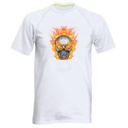 Мужская спортивная футболка Metal skull in flame of fire